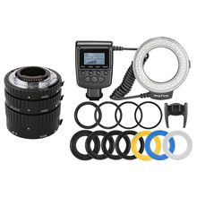 Meike MK-N-AF-A metal Auto Focus Extension Tube + RF-550D RF 550D Macro 48 pieces LED Ring Flash Light for Nikon