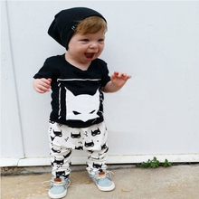 1-3 Years Old New 2017 Baby Clothing Set Baby Boys Cotton Short Sleeve T shirts+ Pants 2pcs Print Summer Children Clothes XL130(China)