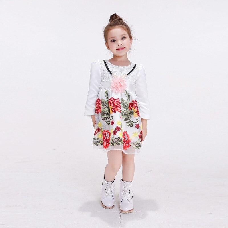 2017 Fashion Girls Dress Bow Girl Clothes European Printing Long Sleeve Princess Childrens Garment <br><br>Aliexpress