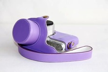 New  Leather Camera Case Bag for Samsung NX-mini 9-27mm Lens with strap Fashion Purple color