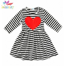 Belababy Girl Dress Spring 2017 Long Sleeve Black & White Striped Girls Cotton Dress Heart Shape Dress vestidos Infantis Clothes(China)