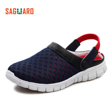 SAGUARO Summer Men Slippers Shoes 2017 Fashion Mesh Slippers Unisex Beach Sandals Casual Flat Slip On Flip Flops zapatos hombre