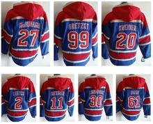 men's hockey hoody hoodies, ryan mcdonagh, brian leetch, mark messier, chris kreider, henrik lundqvist, rick nash, gretzky(China)