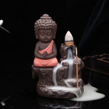 Creative Gift Home Decor Little Monk Censer Ceramic Yixing Backflow Stick Incense Burner Buddha Purple Clay Pottery Base Tea Pet(China)