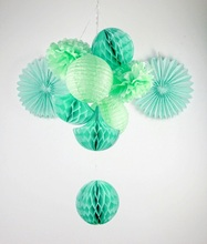 Mint Shade 10pc Party Decoration Set Tissue balls/Tissue Fans/Tissue Pom Poms/ Lanterns/ Honeycomb Drop Decor Weddings Showers
