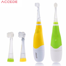 Intelligent Electric Baby Children Kids Sonic Toothbrush Soft Bristle Teeth Care with LED Light 3 Brush Head