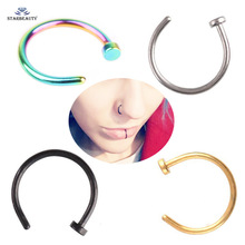 2 Pieces 18G C Clip Fake Lip Ring Solid Black Silver Color Lip Piercing Nose Ring Falso Labret Piercing Body Jewelry 6/8/10mm