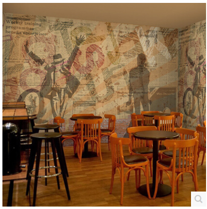 Old newspapers graffiti murals Cafe casual dining restaurant sofa 3D wallpaper background 3D wallpaper tooling<br>
