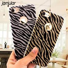 JAMULAR Glitter Leopard Zebra Case For iPhone 6 6S 7 Plus Phone Cases Silicone Bling Case Cover For iPhone 7 Plus 6 6s Coque(China)