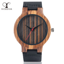 Creative Wood Watch Male Wristwatches Wooden Clock Men's Bamboo Leather Wood Watches Gift relogio de madeira(China)