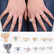 Miss Zoe 6pcs/set Vintage Ethnic Bohemian Stone BOHO Midi Ring Elephant Snake Punk Joint Ring Women Holiday Beach Jewelry