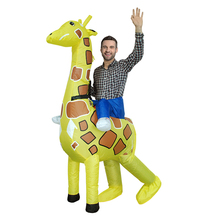 Newest Adult Giraffe Inflatable Costume Funny Halloween Costume For 1.5m-1.85m Men Inflatable Outfits Cosplay Costume(China)