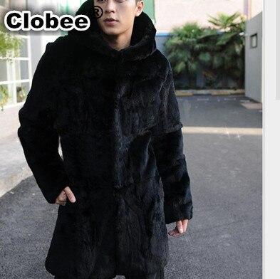 2017 Plus Size XXXL Hooded Casual Thick Warm Men's Long Black Mink Overcoat Office Vetement Formal Faux Fur Coat Outwear V548