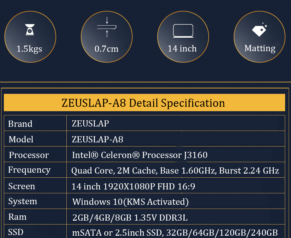 ZEUSLAP 4GB Ram+120GB SSD Ultra-thin Ultra-light Quad Core Fast Boot Windows 10 system Laptop Notebook Computer