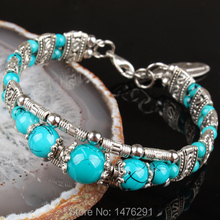 "Tibetan Silver Blue Glass Round Beads Charm Bracelet Bangle 6.5""L-7""L  1PCS"