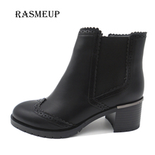RASMEUP Women Vintage Carved Ankle Boots Fashion Elastic Band Brogue Shoes Woman Winter Warm Plush Leather Handmade Lady Boots(China)