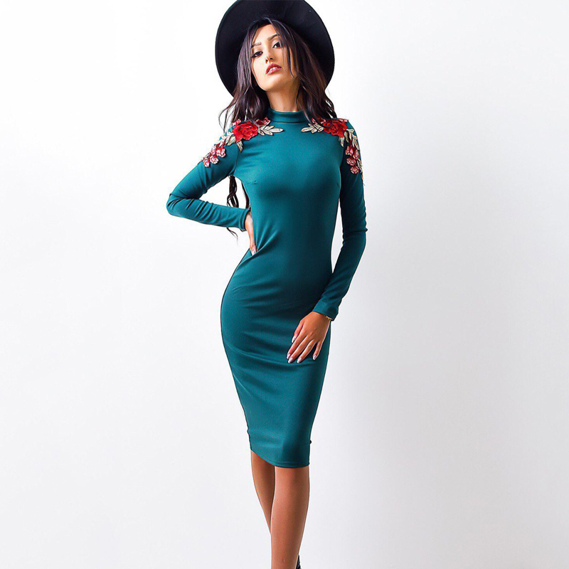 Fall Dresses 2017 Fashion Women Long Sleeve Sexy Bodycon Culb Dress Autumn Winter Casual Knee Length Pencil Party Dress 2