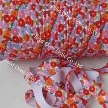 New print!!! flower heat transfer foe fold over elastic 100 yards per color per lot,OEM services, free shiping(China)