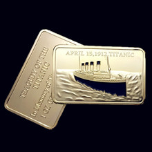 2 pcs/lot  In memory of the victims Titanic ship 1912 voyage gold plated bullion bar souvenir Replica coin