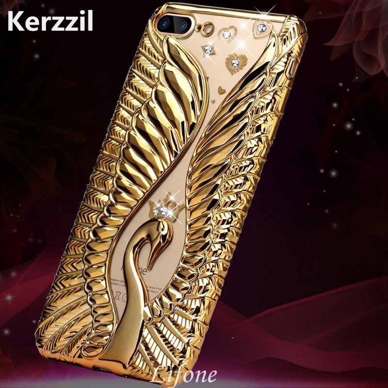Kerzzil 3D Relief Swan Diamond Phone Case iPhone 7 6 6S Plus Plating Rhinestones TPU Silicone Soft Cover Back Coque