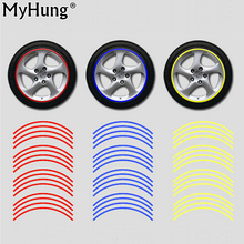 "3M Reflective Tape Car Motorcycle Rim Stripe 16 17 "" Wheel Decal Stickers Car Accessories Car Rim Tape Sticker 16pcs Per Set(China)"