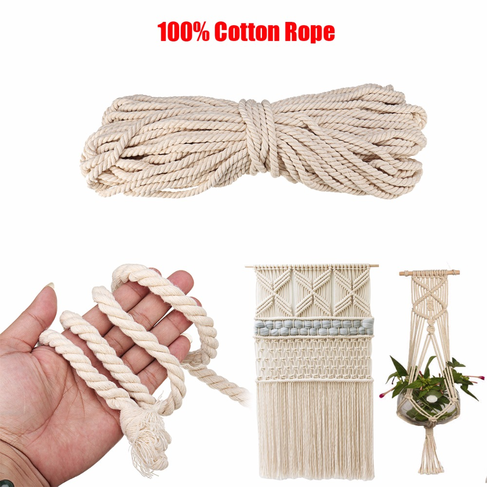 10mm Natural White 3 Strand Cotton Twisted Cord Rope Craft Macrame Artisan