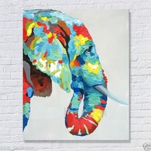 100%Handmade Decor Works High Quality Abstract Animal Modern Wall Art Elephant Oil Painting On Canvas For Wall Decor Artworks