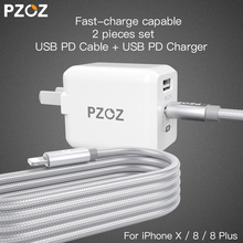 PZOZ PD USB 29W Fast Charger adapter For Apple iphone X 8 Plus Type c usb-c Lightning Charge cable Fast charging Dual usb c 3.1(China)
