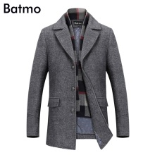 BATMO 2019 winter turn-down collar wool coats men 50% woolen Thicker trench coat