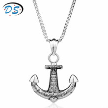 Personality HEBREWS Anchor Pendants Necklace for Men Vintage Accessories Snake Link Chain Necklace