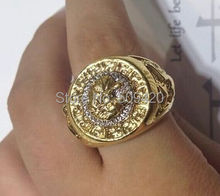 XFS20141er>>Men's 19mm Band Ring Cool Lion Eagle Star new Yellow - Size 8 -12#