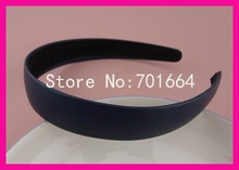 "10PCS 25mm 1.0"" Navy Imitation Leather Covered Plain Plastic Hair Headbands with black velvet back,BARGAIN for BULK"