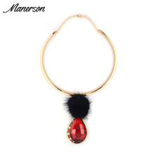 2016 Fashion Torques Necklace Pendant Statement Red Gem Collar Women Fur Ball Choker Gold Neck Chain Maxi Collier Femme Jewelry