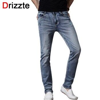 Drizzte marca mens moda jeans stretch cinza azul denim dos homens slim fit Calças Jeans Calças Tamanho 30 32 34 35 36 38 40 42 Jean