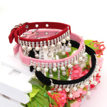 Crystal Pearl Cats Necklace Pet Collars for Dog Clothes Jewelry Dogs Accessories Puppy Product Red Pink Black S M L