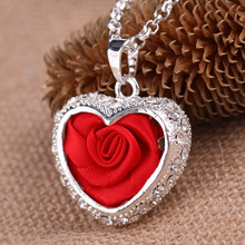 2016 New Style Heart Necklace Red Rose Pendant Necklace Silver Plated Chain Love Gifts choker Necklace Women Wholesale Free Ship