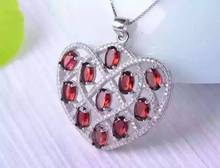 natural red garnet stone pendant S925 silver Natural gemstone Pendant Necklace romantic big heart  Peach women girl jewelry