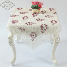 European style luxury embroidery organza fabric table cloth white wedding table cover