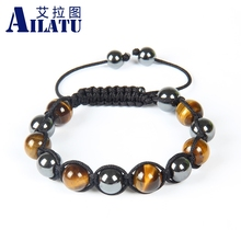 Ailatu Fashion Jewelry with Power Hematite and Tiger Eye Stone Woven Shamballa Bracelet for Lover or Friends(China)