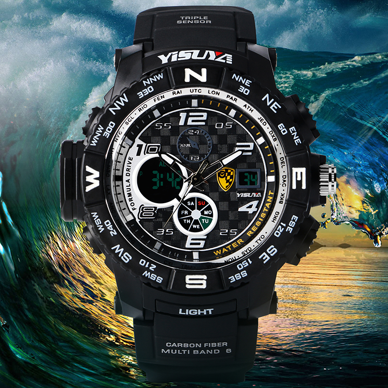 YISUYA Multifunction Dial Waterproof Rubber Band Strap Wrist Watch Day-Date Compass Display  Military Army Style Men Watch<br><br>Aliexpress