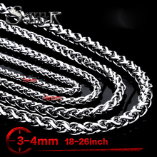 Steel soldier Men Spiga Plait Necklace Chain 3mm/4mm/5mm/6mm Width 316L Stainless Steel  Silver Color jewelry
