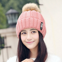 Women Warm Hats 2017 Real Fur Pompon Hat Double Lining Big Raccoon Pom Pom Gorros Female Knitted Winter Hat Think Crochet Bone H