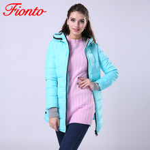 FIONTO Women's Jacket Winter 2017 New Medium-Long Down Cotton Parka Plus Size Coat Slim Ladies Casual Clothing Hot Sale AA007
