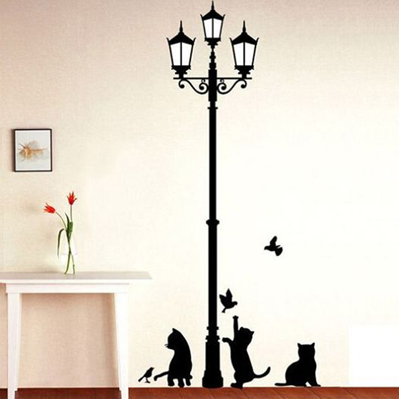 Creative DIY Popular Ancient Lamp Cats and Birds Wall Sticker cartoon Wall Mural Home Decor Room Kids Decals Wallpaper(China (Mainland))