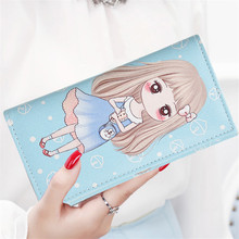 Fashion Cute Girl Wallet Cartoon Anime Print Pattern Purses Bag Long PU Leather Wallets With Hasp Card Holder Girls Wallet Bag