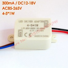 300mA (4-5)x 1W Led Driver 4W 5W Lamp Driver Power Supply Lighting Transformer AC 85V-265V 110V 220V for ceiling light spotlight