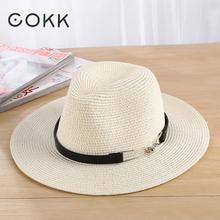 COKK Sun Hat Summer Hats For Women Men Unisex Straw Beach Panama Hat Bucket Hat Chapeau Femme Homme Travel Vacation Seaside New(China)