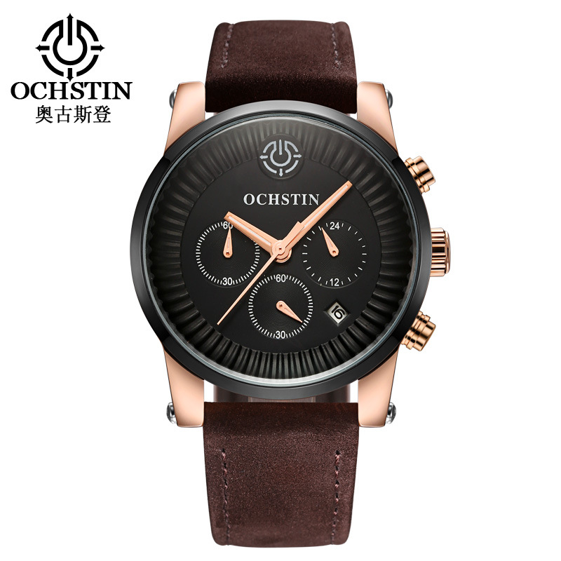 business man quartz wristwatch OCHSTIN luxury brand men watches genuine leather black brown waterproof calendar Chronograph<br>