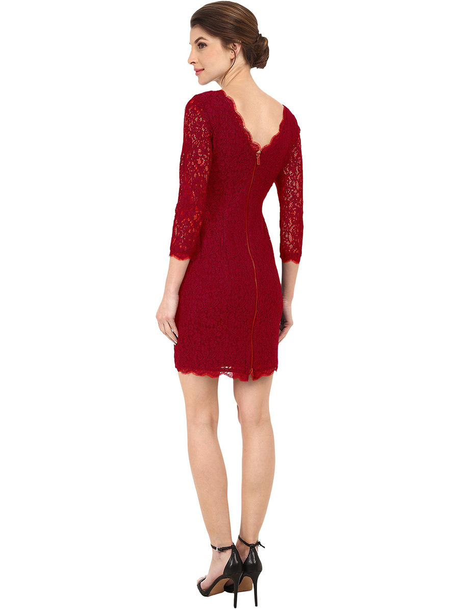 Berydress Autumn Winter Elegant Women Classy 3/4 Sleeve Wedding Cocktail Zip Back Knee-Length Full Lace Dress New Arrival 2017