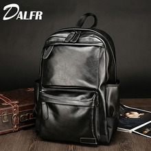 DALFR PU Leather Backpacks Men Solid Fashion School Bag 20 Inch Zipper Style Travel Bags PU Leather Luggage Bag